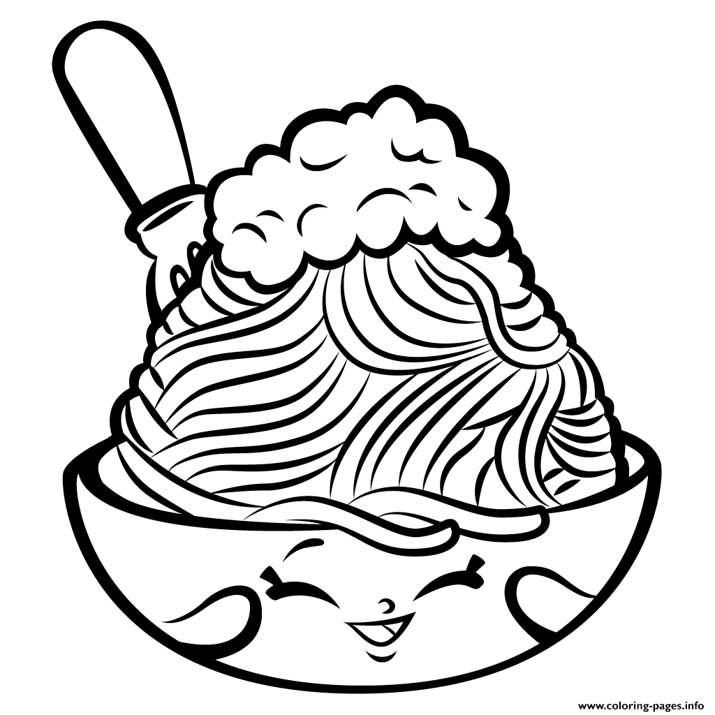 Shopkins coloring pages wishes - Print Foods Netti Spaghetti Shopkins Season 3 Coloring Pages