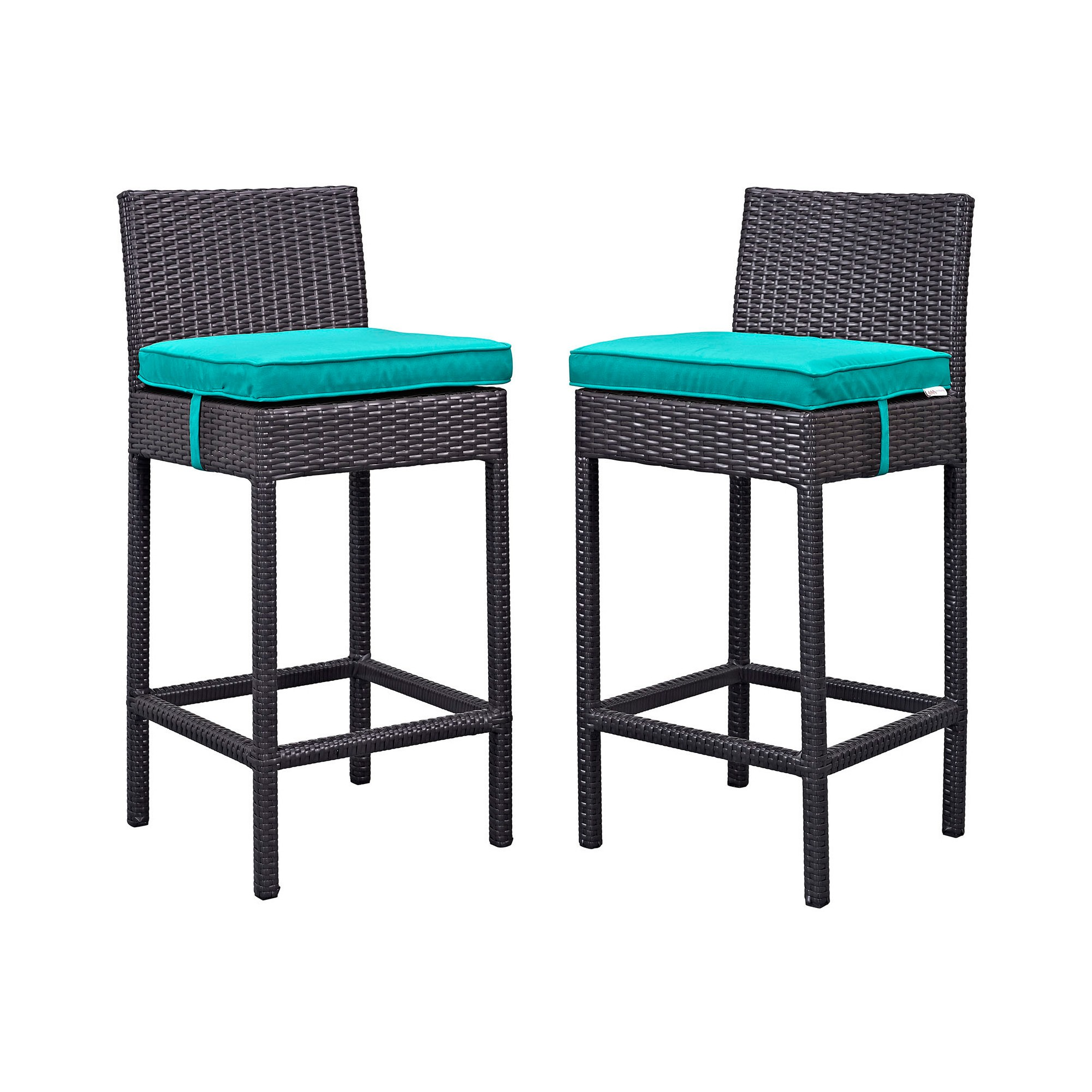 Lift Bar Stool Outdoor Patio Set Of 2 In Espresso Turquoise   Modway