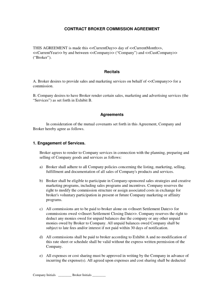 Commission Agreement Template 2 Templates Letter
