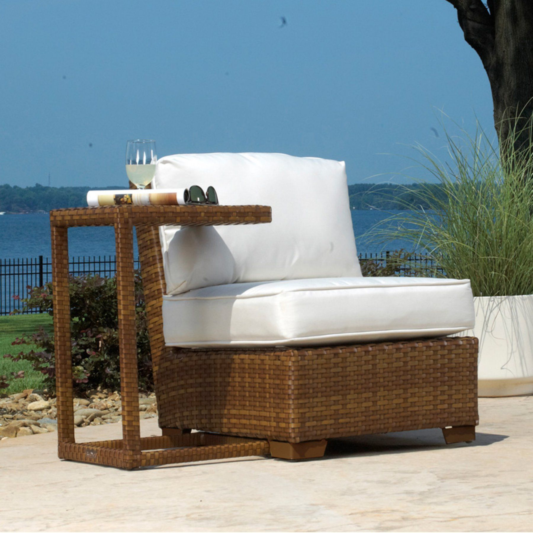 Outdoor Panama Jack St. Barths Modular Armless Patio Chair With Cushion    Brown Pine With