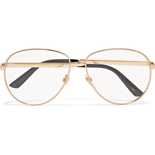 93ba745d0ce Gucci Aviator-style gold-tone optical glasses ( 445) ❤ liked on Polyvore  featuring accessories