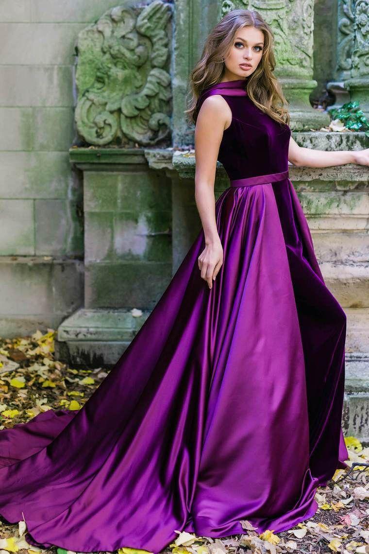 purple satin dress long