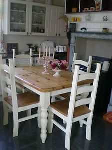 Shabby Chic Farmhouse Table And Four Chairs Ebay