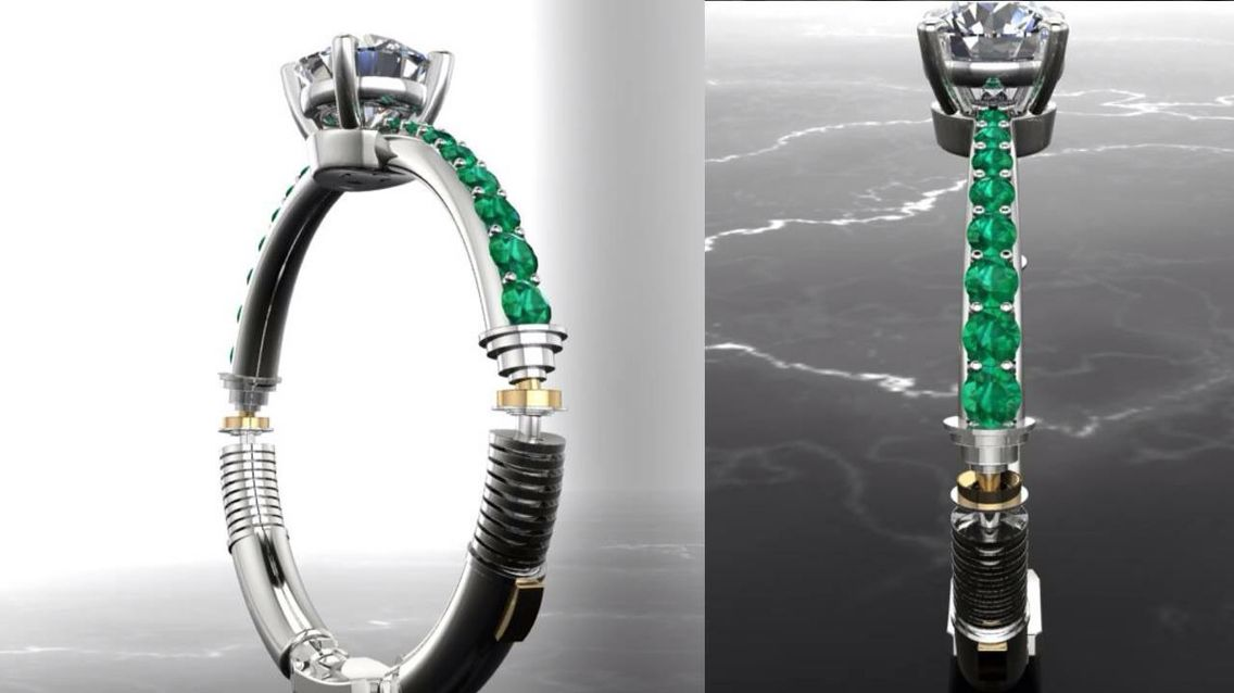 wars custommade engagement design inspired michael ring star paul rings lightsaber wedding