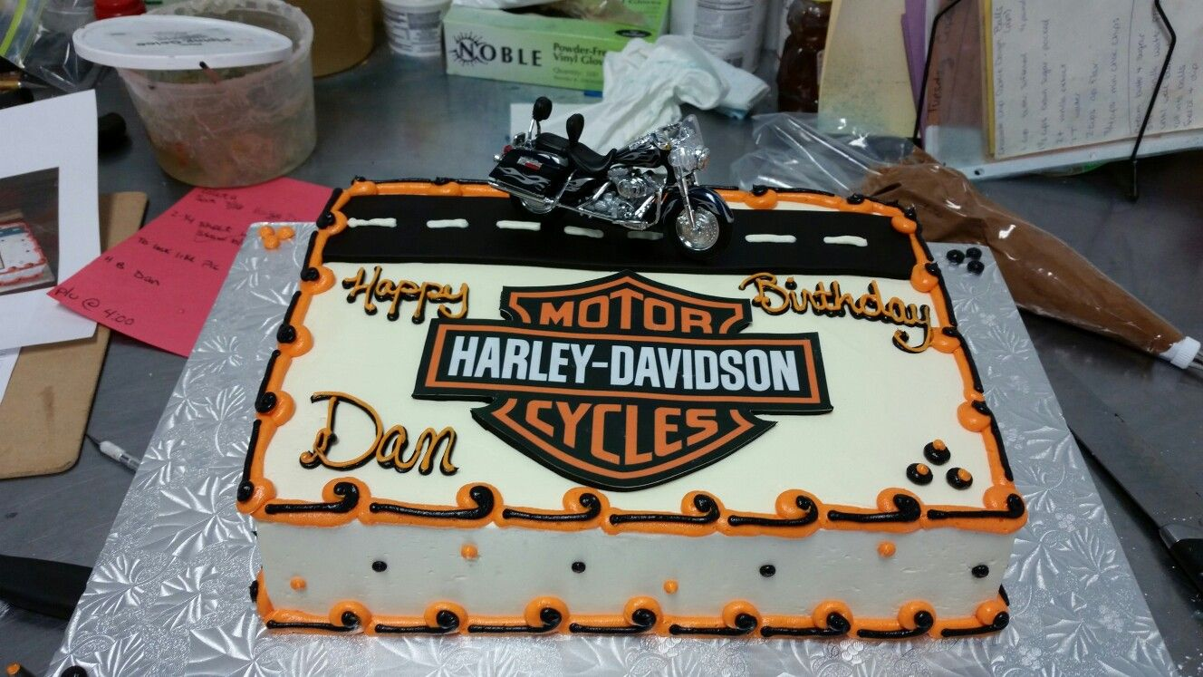 Harley Davidson Theme Birthday Cake Buttercream Frosted With Fondant Accents Toy Motorcycle Birthday Cakes Birthday Cakes For Men 30th Birthday Cakes For Men