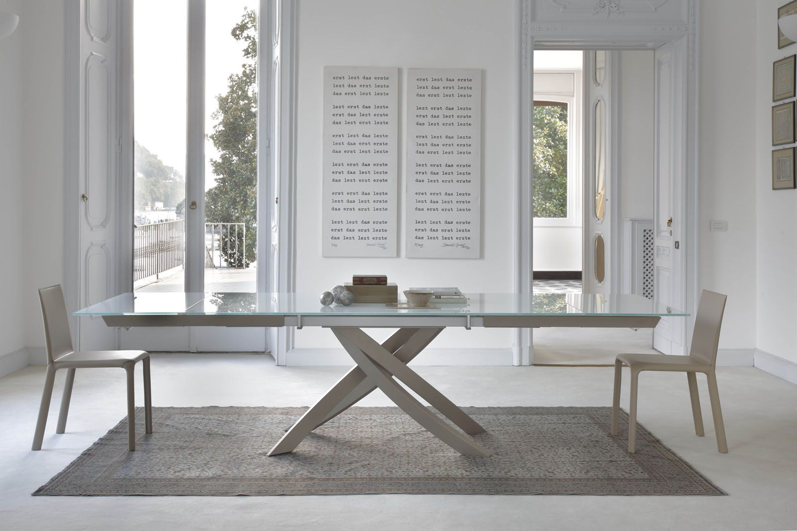 Italian Extendable Dining Table Artistico Table Extension Glass By Bontempi Italy Spaces Of