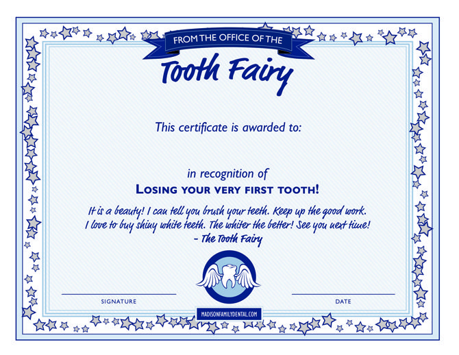 Tooth Fairy DIY Series : Tooth Fairy Certificate Template ...