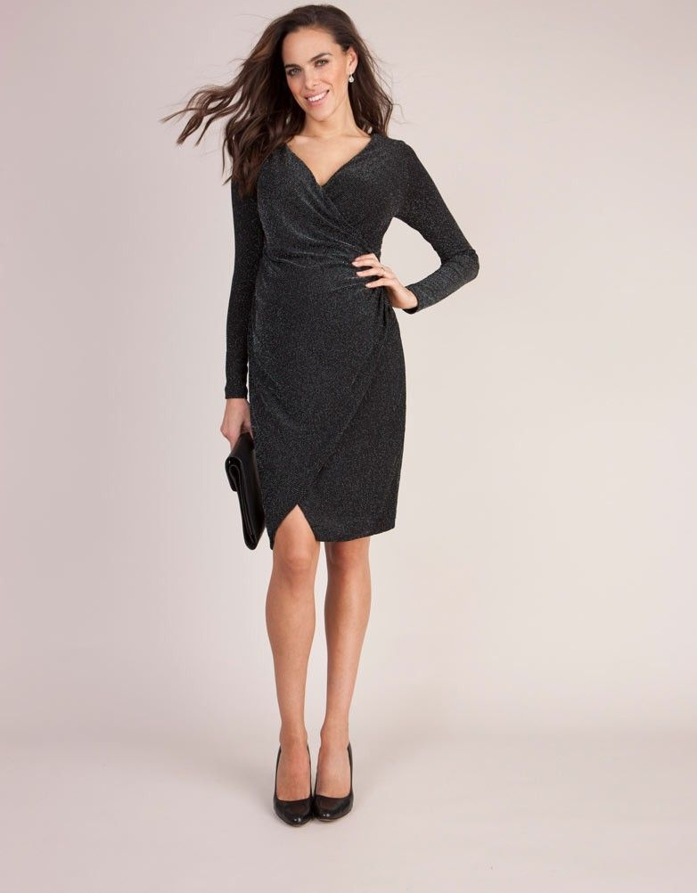 971fcba92ad Seraphine s Dazzle Draped Maternity Cocktail Dress is an after-dark classic  designed to flatter your new curves.