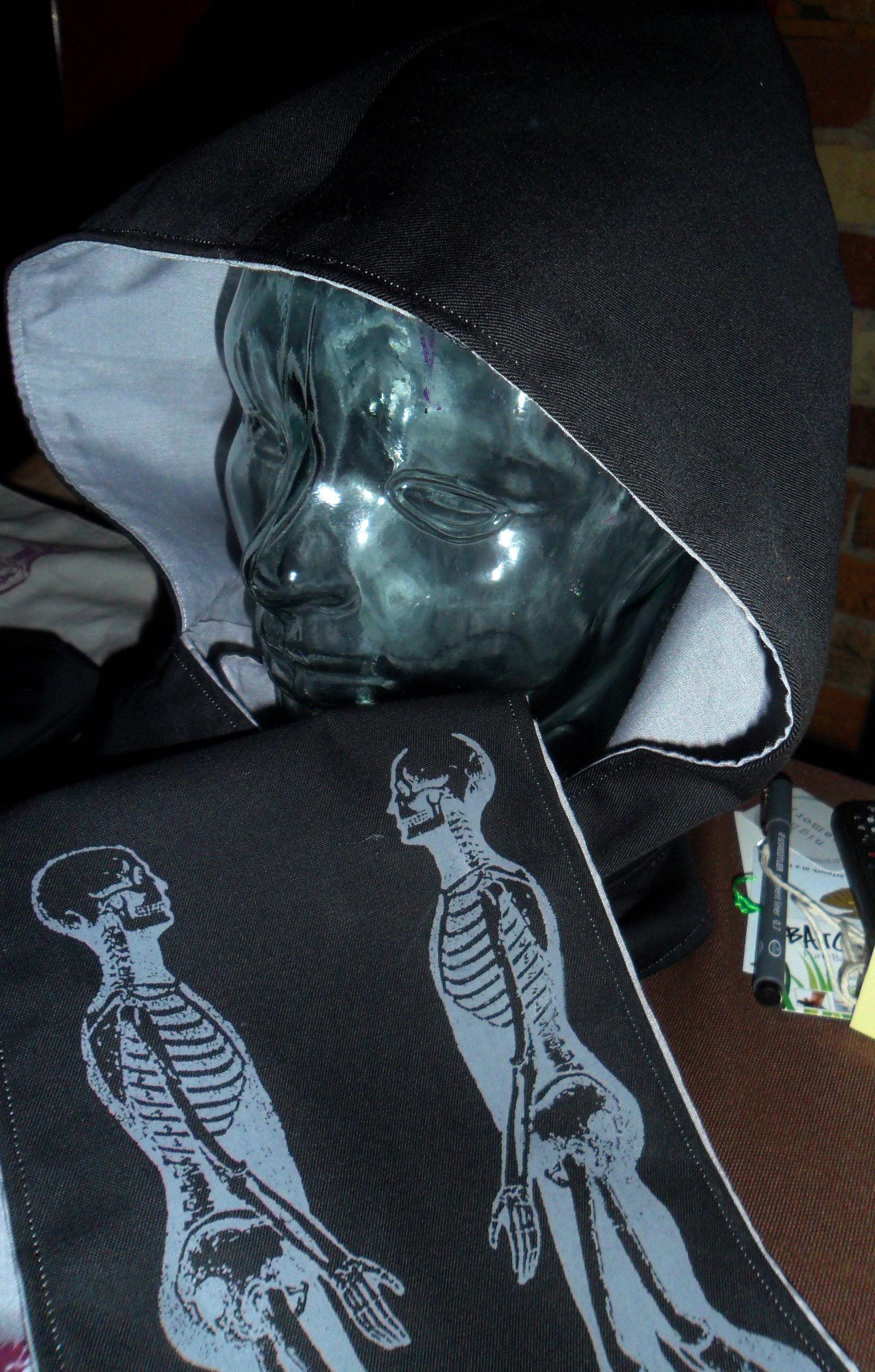 hooded scarf skeleton print