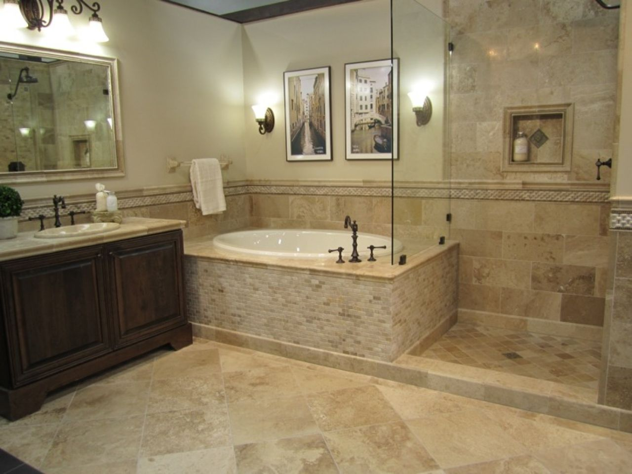 Bathroom fixtures travertine vanity honed driftwood for Master bathroom fixtures