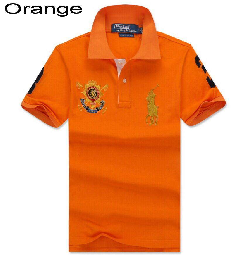 Ralph Lauren Men Custom Black Watch Crest Short Sleeve Polo Orange