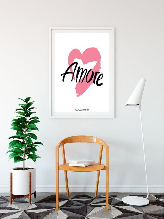 Amore - Wall Art Print - Quotes - Love - Pink Heart - Poster - Wall decor - Typography Printables for bedrooms, dressing room, home #DressingRoomPrint #WallPrints #PinkAndWhite #BeautyQuotePrint #InspirationalQuotes #BedroomPrints #TeenDecor #HomeDecor #WallDecor #AspirationalQuote