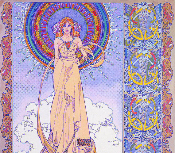 DIARMUID AND GRAINNE 8x11 art Print by Jim FitzPatrick Celtic Irish Fantasy Art