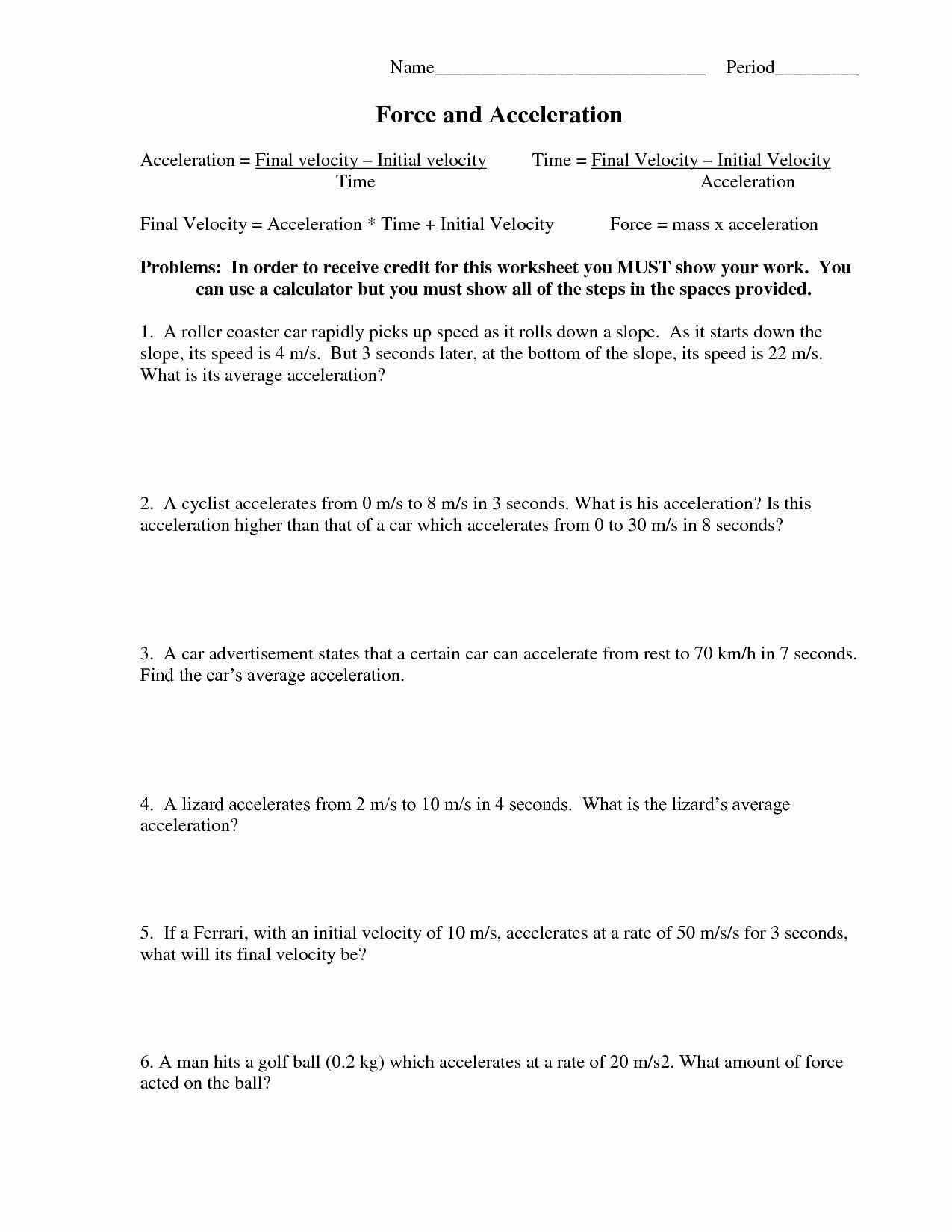 Acceleration Worksheet With Answers Best Of 6 Best Of Net