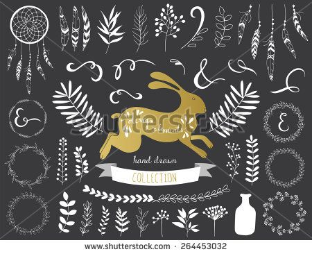 Spring design elements. Vintage style. Vector illustration.