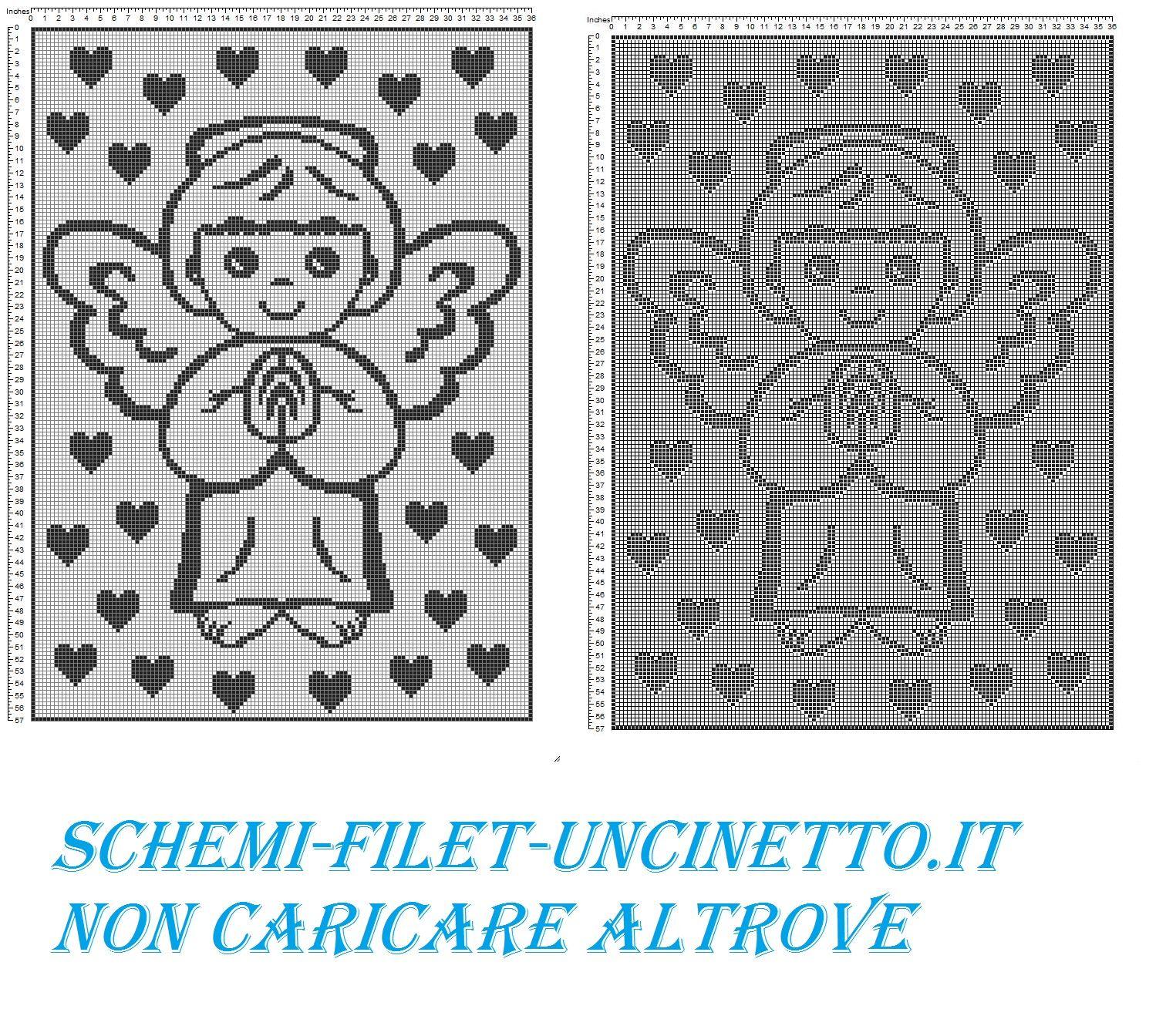 copertina con angioletto filet uncinetto schema punto croce gratis ...