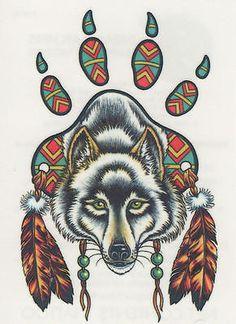 Native American Wolf Paw Tattoo