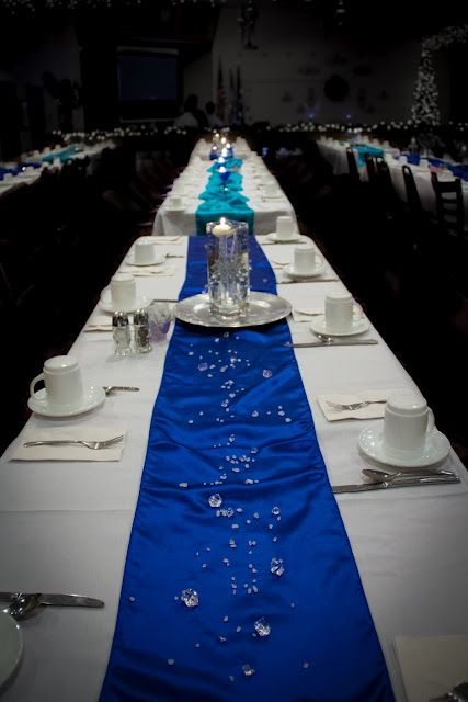 Maybe do the table like this but no crystals and have the for Baby blue wedding decoration ideas