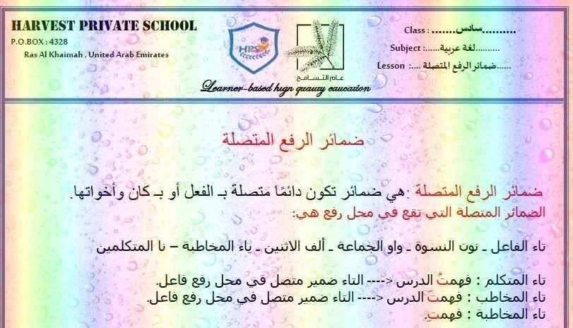 أوراق عمل درس ضمائر الرفع المتصلة بالإجابات مادة اللغة العربية للصف السادس الفصل الثاني 2019 Bullet Journal Education Map