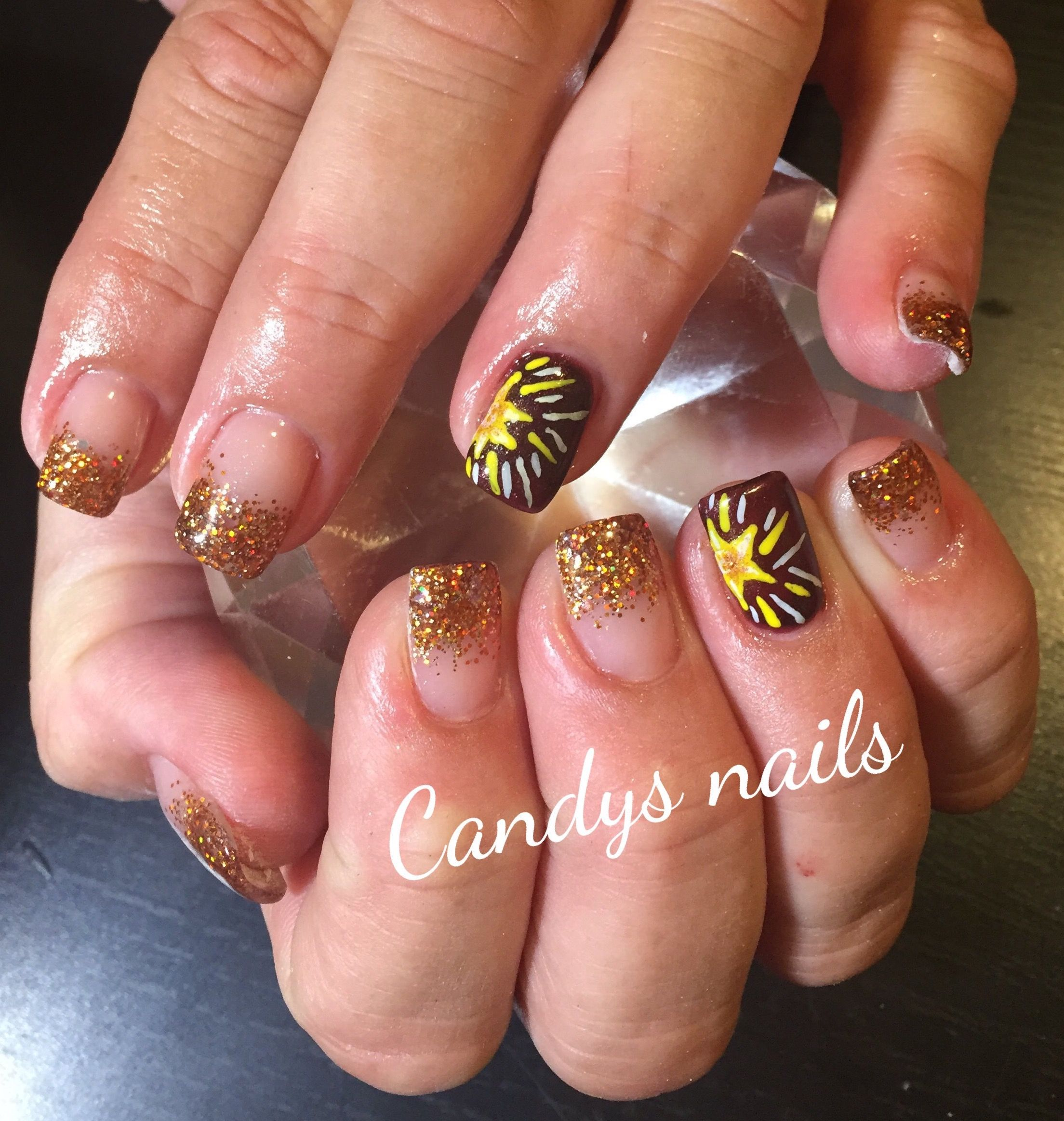 About baby boomer nail art tutorial by nded on pinterest nail art - Gold Glitter Tip Fade Design Acrylic Nails