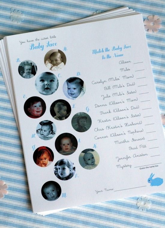 Baby shower game - Match the baby face