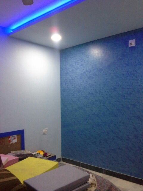 Dark Bue Texture Wall With Light Blue On Other Walls Textured Walls Wall Light Blue