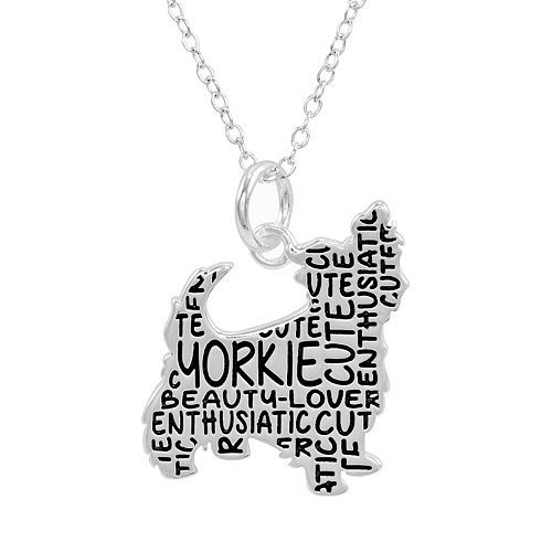 Silver plated yorkie pendant necklace womens silver aloadofball Gallery