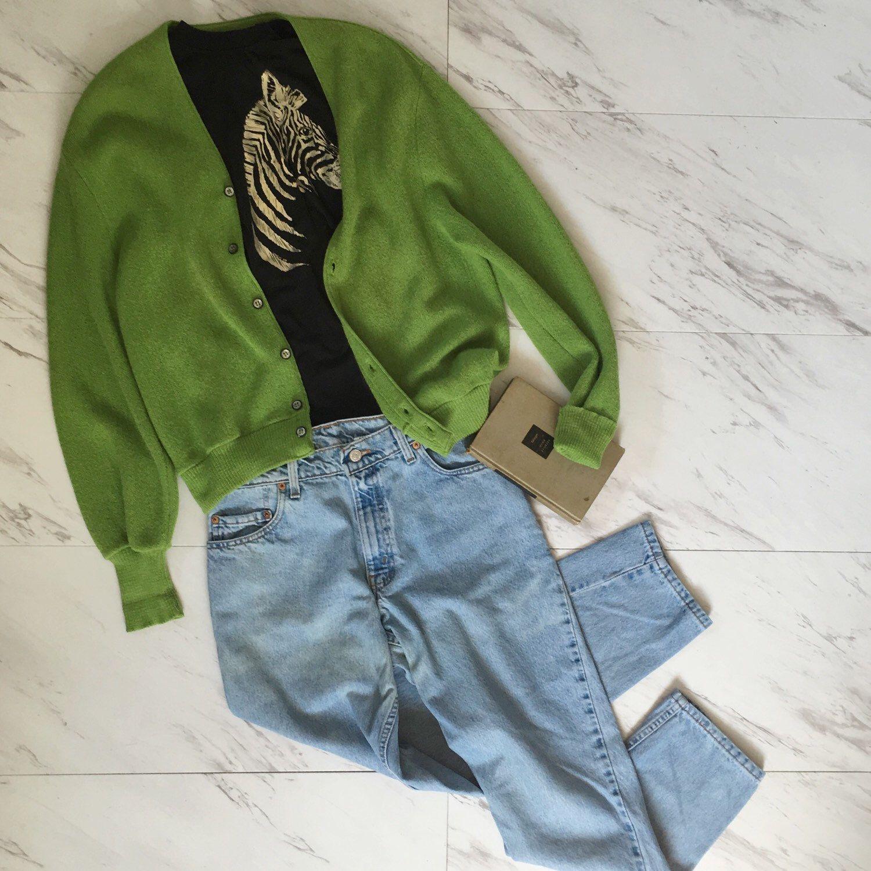 Vintage lime green Arnold Palmer cardigan sweater. | Cashmere ...