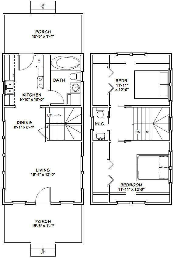 16x30 tiny house 16x30h8e 878 sq ft excellent for 16x30 house plans