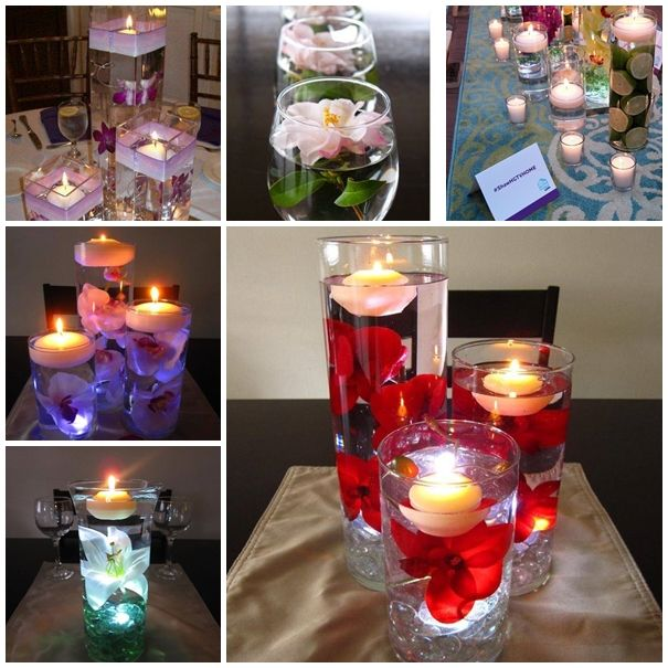 Floating Candles Centerpieces Ideas For Weddings: Wodnerful DIY Unique Floating Candle Centerpiece With