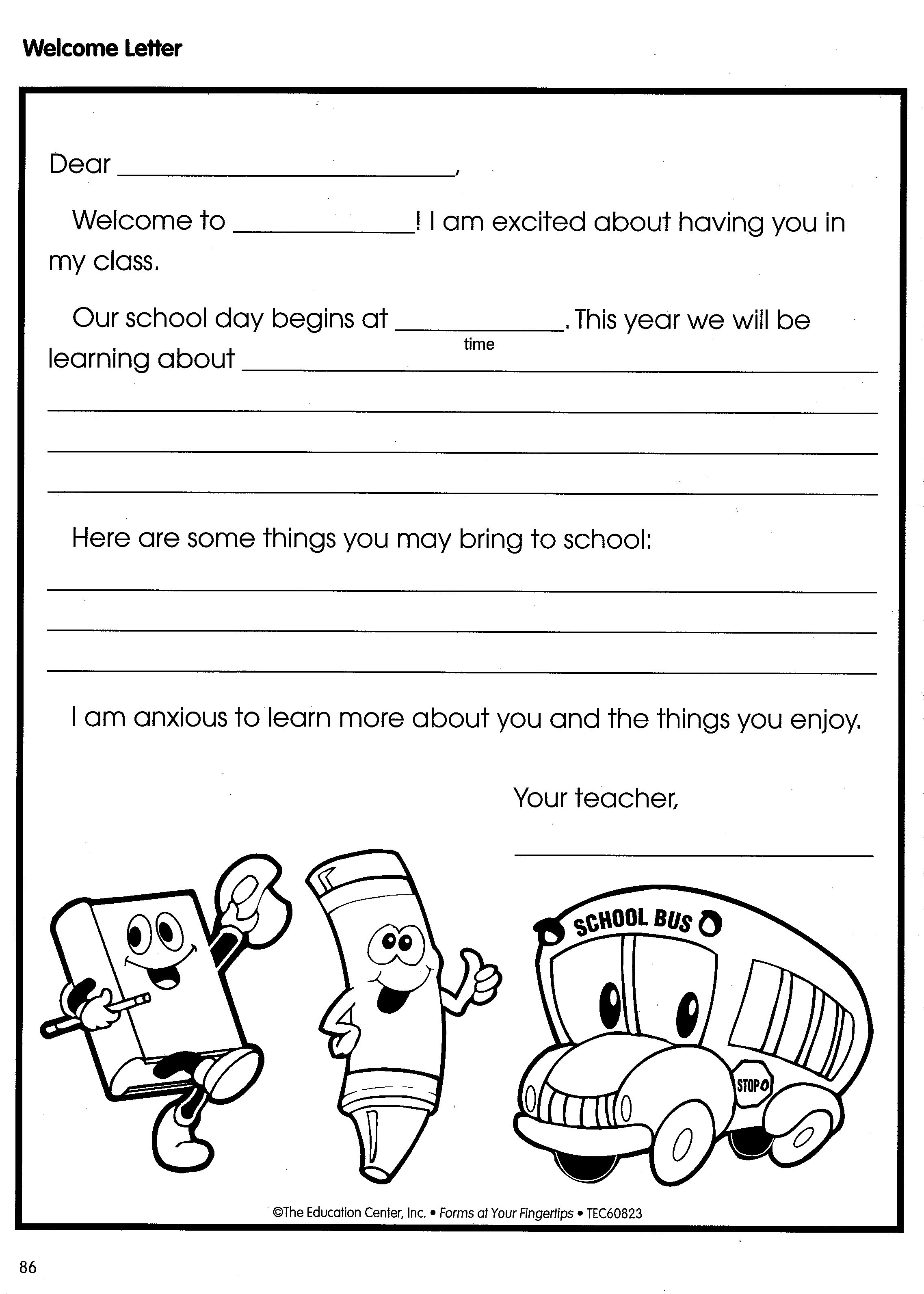 Welcome Letter  Welcome Students To Your Classroom This Year With