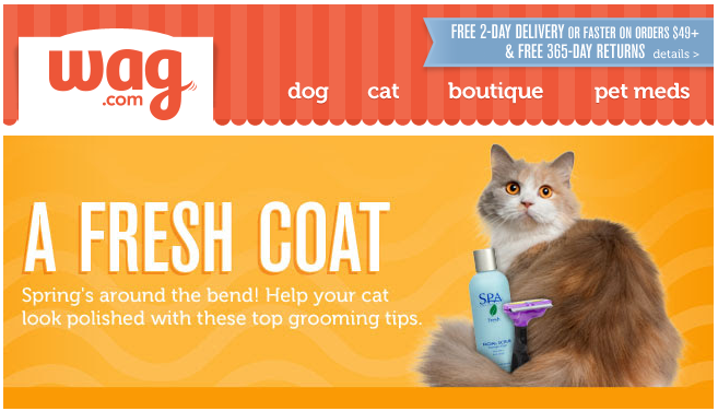 Wag Com Fresh Coat Email With Spring Focus On Grooming Products Pet Meds Grooming Pets