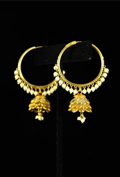 buy punjabi jhumka kundan earrings lotan silver metal