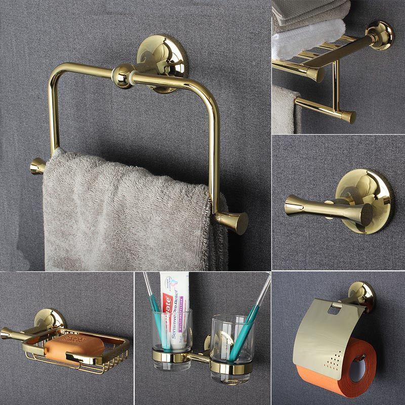 Photo of Copper bathroom Series European Modern Copper Towel Ring / Toilet Paper Holder / Cu …