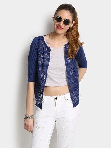 4a22cf7413a Buy 109F Women 109F Women Navy Lace Shrug online India