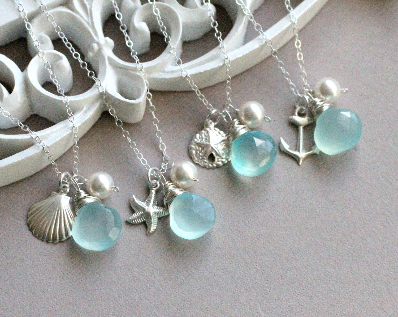 Gift set of four bridesmaid necklaces beach wedding