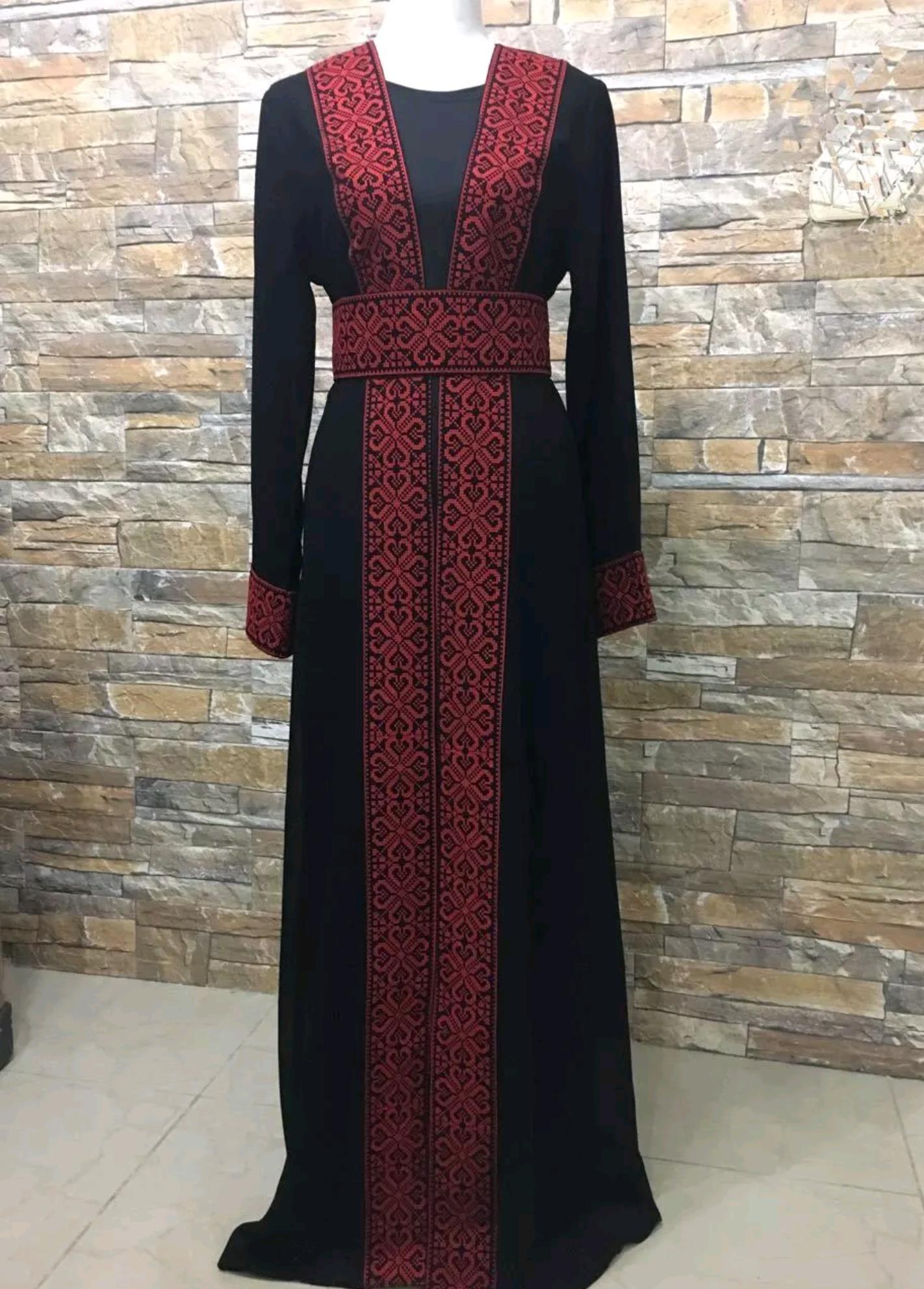 Palestinian Embroidered Thobe Abaya Traditional Islamic caftan Dress