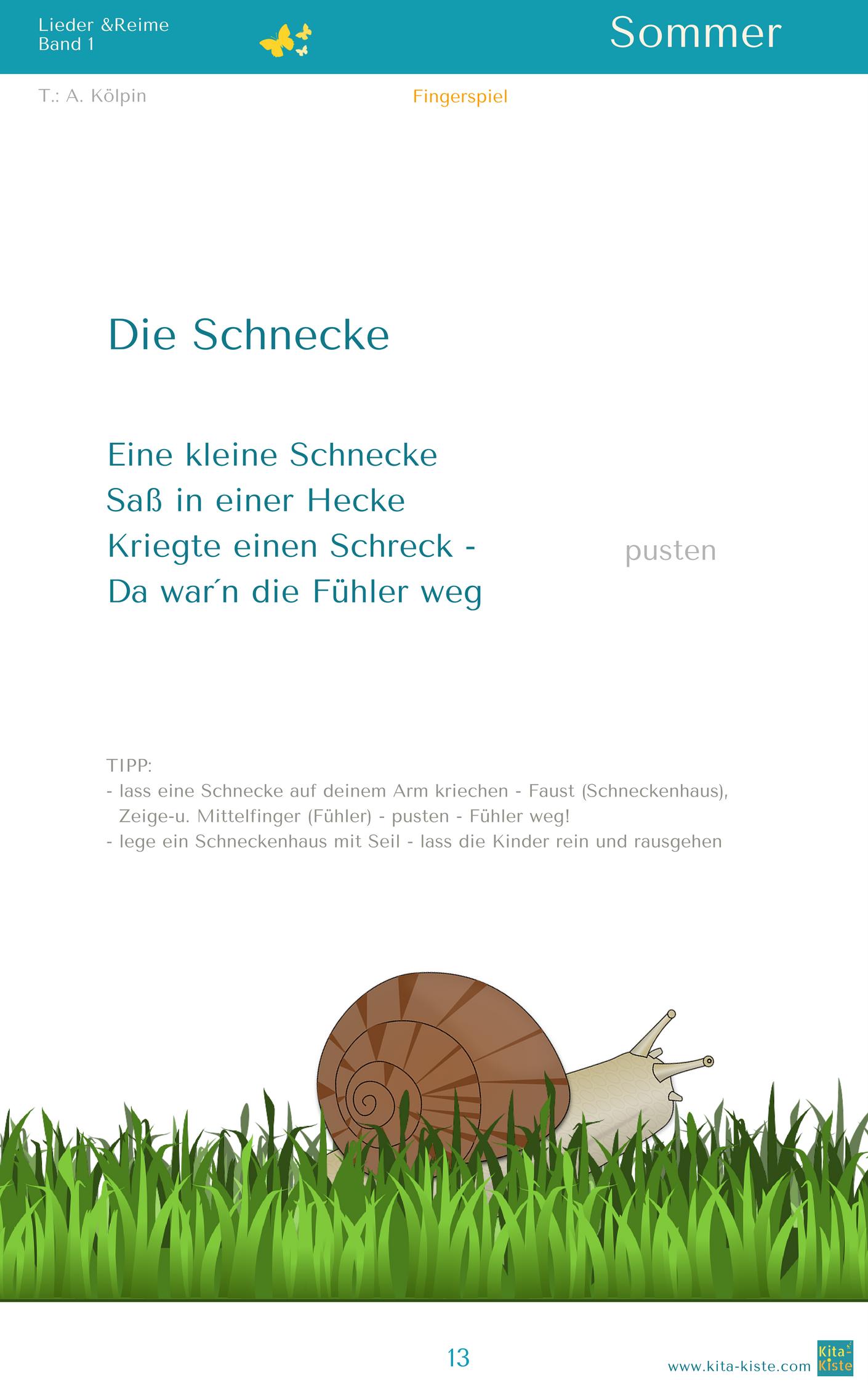 Kleine Schnecke Text