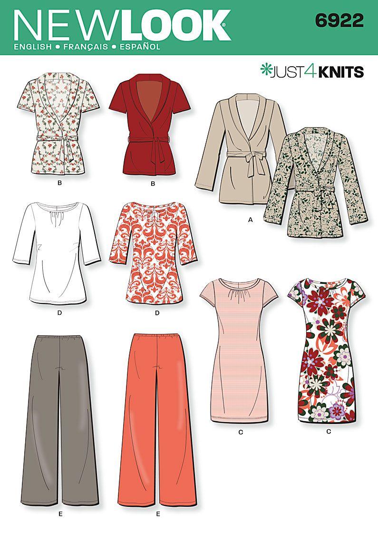 Knit Dress Pattern Sewing : Womens Knit Cardigan, Dress Sewing Pattern 6922 New Look. (