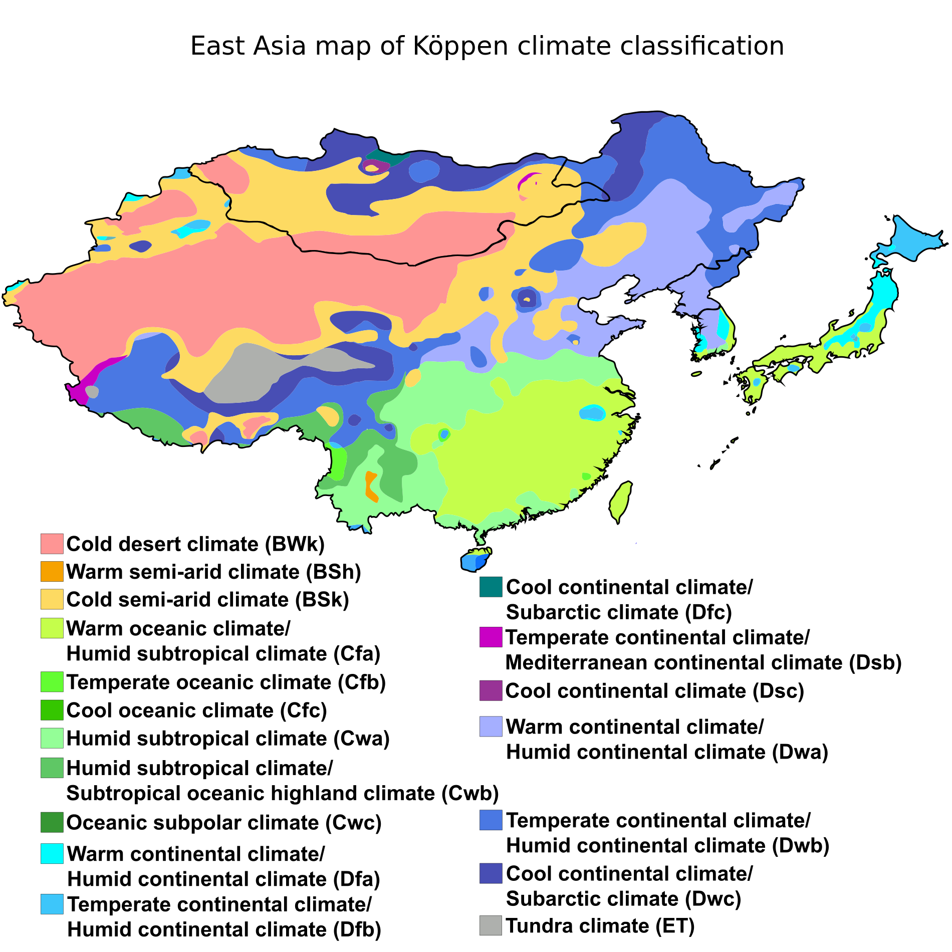 Climate Zone Map Of Asia.East Asia Map Of Koppen Climate Classification Maps Charts Map