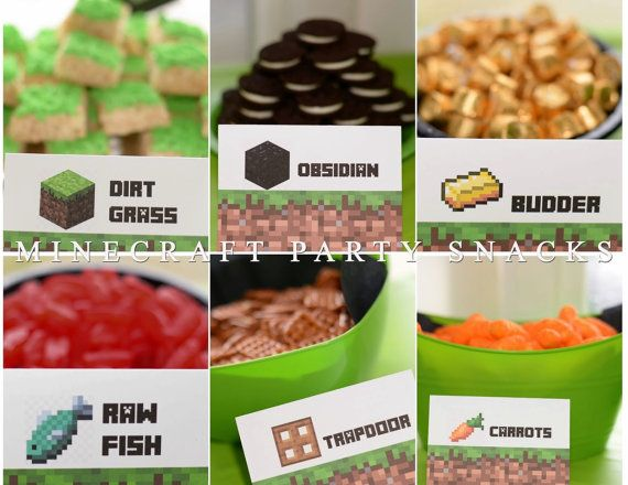 TONS OF LABELS!!! Minecraft Birthday Party Favor Snack Topper Labels and Food Sign Tents :) there's so many!!!!!! #minecraftparty