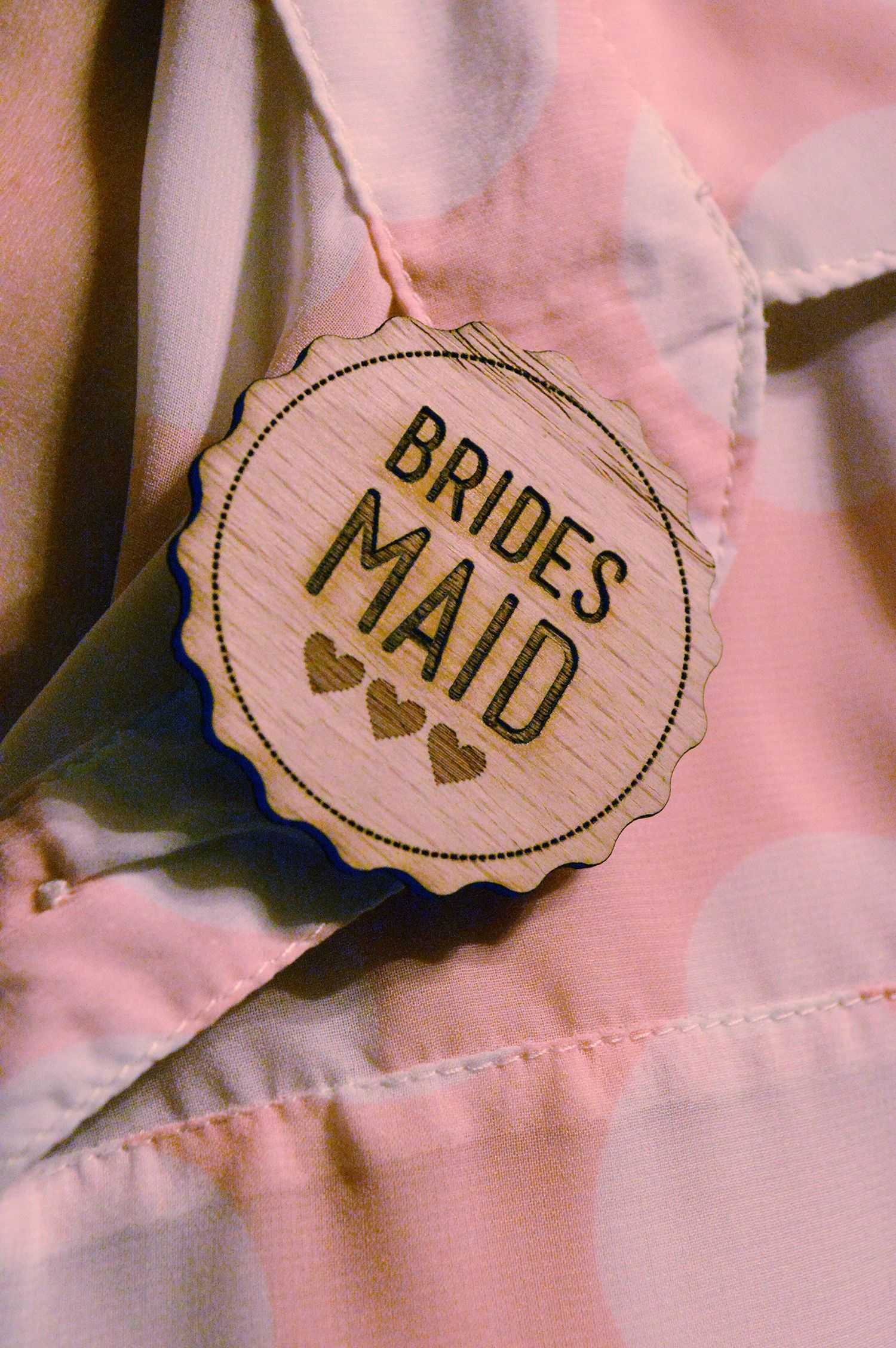Bridesmaid wood laser cut and engraved badge by www.hestiastationery ...