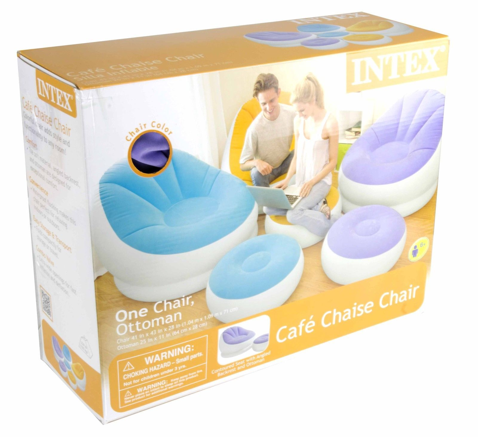 Intex Cafe Chaise Chair Inflatable Dorm Lounge Seat with Ottoman