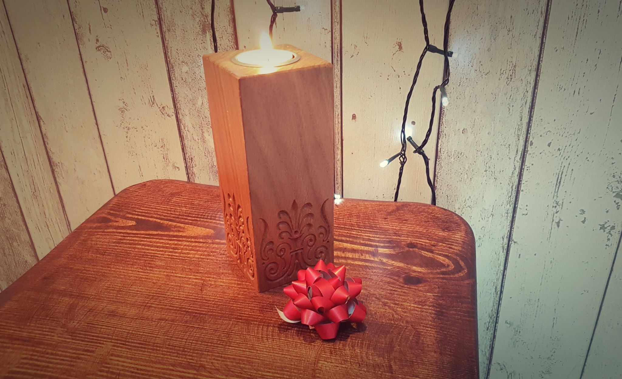 Beautifully crafted Solid Oak Engraved Rectangular Tea Light Holders from Bramble Signs