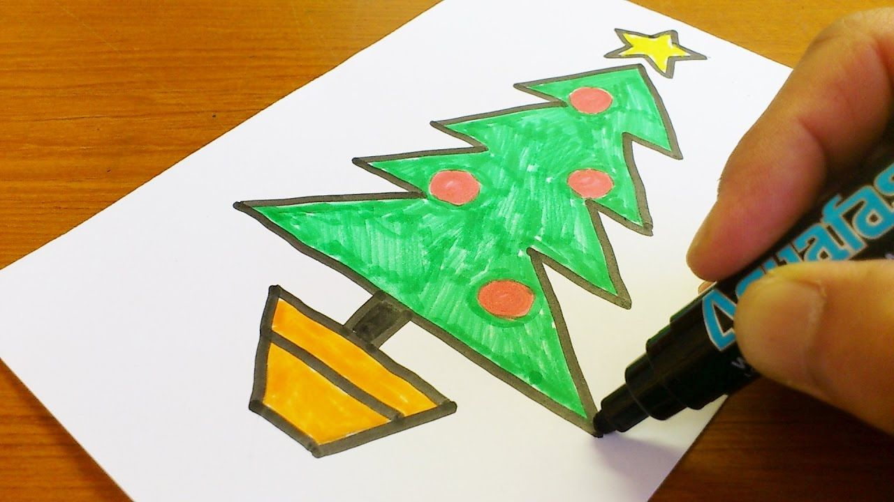 Very Easy How To Draw A Christmas Tree Easy And Cute Art On Paper F Simple Christmas Tree Easy Christmas Drawings Diy Paper Christmas Tree