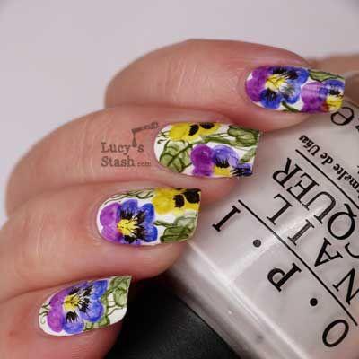 Watercolour Nail Art Pansy Violet Flowers Water Color Nails Nails Nail Design Inspiration