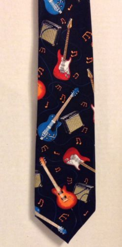 Utopia Necktie Black with Electric Guitars and Amps Rayon Mens Neck Tie | #eBay #Music #Gift
