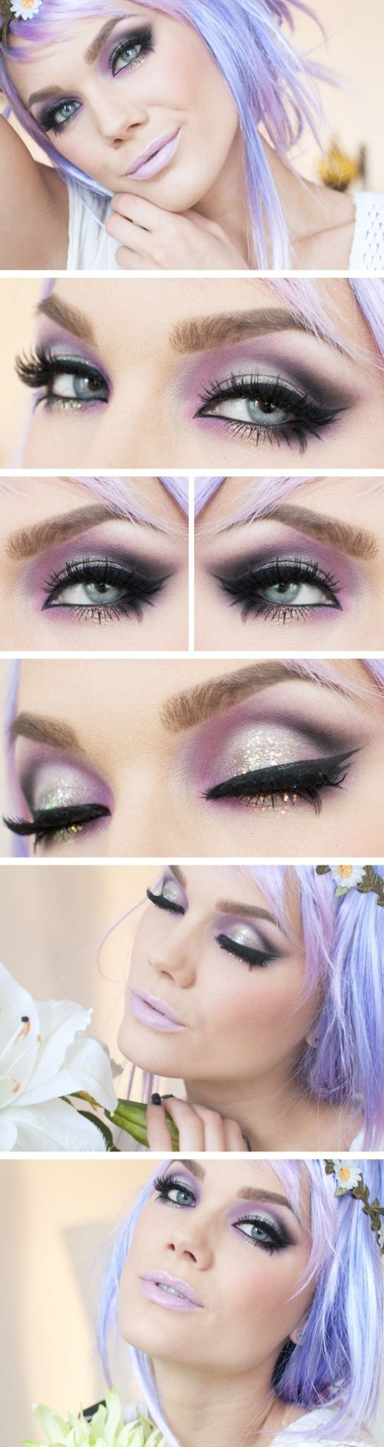 Beautiful eye shadow and a very pretty pale lilac lip it looks like
