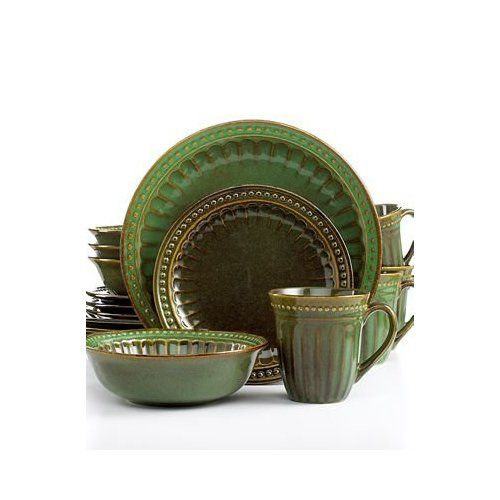 Amazon.com | Signature Living Dinnerware Regent Park Green 16 Piece Set Service for 4 Dinnerware Sets | California House | Pinterest  sc 1 st  Pinterest & Amazon.com | Signature Living Dinnerware Regent Park Green 16 Piece ...