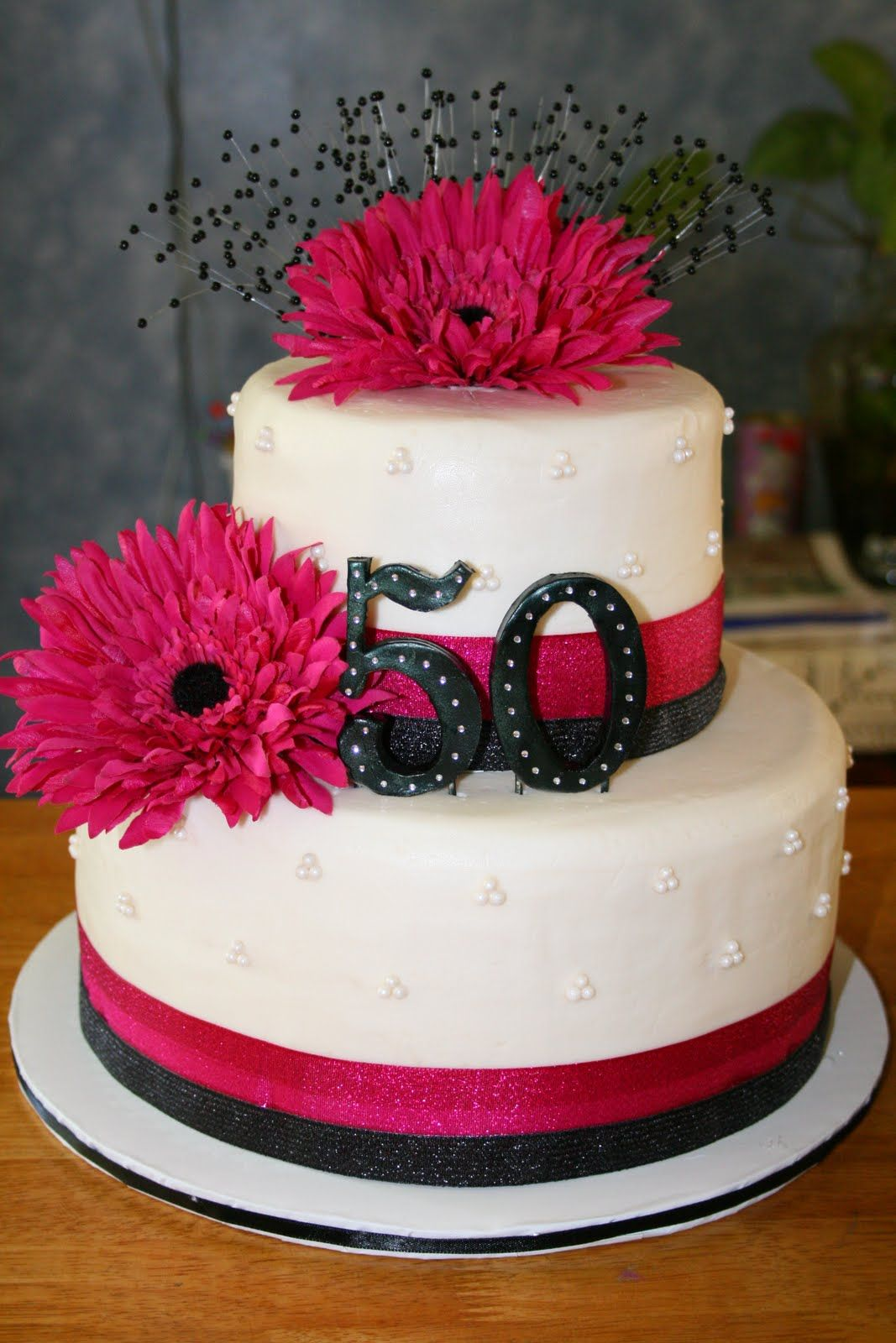 50th birthday cake except I want it in Purple and grey/silver